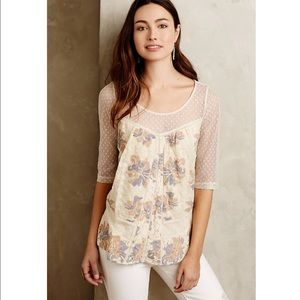 Women's Anthropologie White Lace Floral Top, M